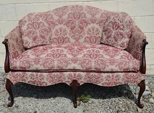 Hickory Chair Mahogany Chippendale Style Settee Sofa Designer Damask Fabric
