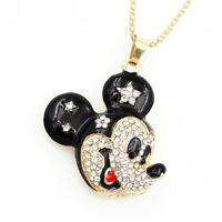 Betsey Johnson Enamel Crystal Cartoon Mickey Mouse Pendant Long Chain Necklace