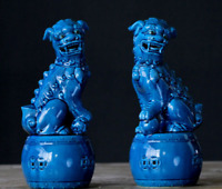 "10.6""China Jingdezhen Bule Glaze Porcelain Foo Fu Guardion Lion Drum Statue Pair"