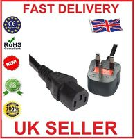 1.5M 3 Pin UK Mains Power Plug to IEC C13 Kettle Lead Cable Cord for PC Monitor