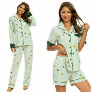Women Green Cartoon Home Sleepwear Pajamas Sets Lounge Cute Long Short Shirt