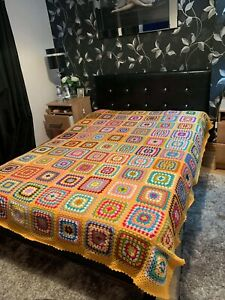 Beautiful Granny Square Handmade Blanket Bed Throw Multicolor 71inch/ 79inch