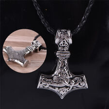 Mens Nordic Viking Mjolnir Pendant Leather Chain Myth Thor's Hammer Necklace KT