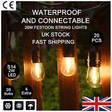 20m Vintage Festoon LED String Lights Wedding Outdoor Gazebo Garden Lighting UK