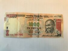 Indian Currency Note With Holy No.786 Rs.1000 - slightly used