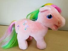 "VTG 1984 Hasbro Softies MY LITTLE PONY Pink PARASOL Rainbow Hair 10"" Plush Toy"