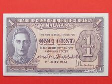STRAITS SETTLEMENTS MALAYA BRITISH ( 1941 RARE UNC ) ONE CENT RARE BANK NOTE,UNC