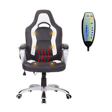 Race Car Style Faux Leather Heated Massage Office Chair w/ Remote Control