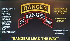 "75TH RANGER REGIMENT ""RANGERS"" 3'X5' 2PL POLYESTER 1-SIDED INDOOR 4 GROMMET FLAG"