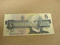 1986 - Canadian five dollar bill - $5 Canada note - ANP9716549
