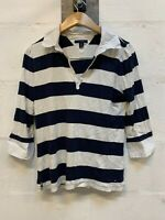 Tommy Hilfiger Womens Shirt Polo Collar Cotton White & Navy 3/4 Sleeved Medium M