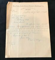 Vintage 1883 New York, Lake Erie & Western Railroad Co. Letterhead Charles Keyes