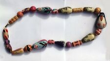 """30"""" Unique Wooden Bead Necklace Hand Painted Animals / Faces / Abstract Design"""