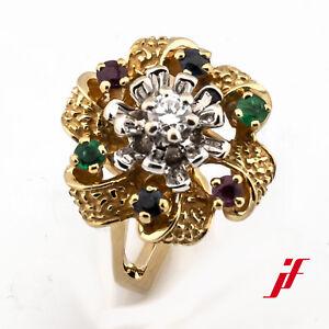 Ring 750/18K Gelbgold Rubin Smaragd Saphir Safir Diamant Brillant Blume Größe 53
