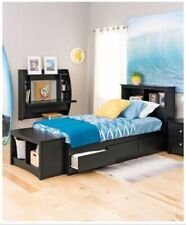 Black Three Storage Drawer Bookcase Headboard Twin XL Platform Bed Frame