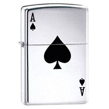 Official Lucky Ace High Polish Chrome Zippo Lighter - Gift Boxed Silver Tone