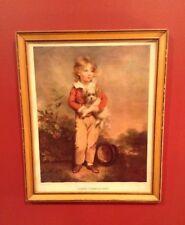 "Vintage Framed 1936 Color Print - ""GOOD COMPANIONS"" BOY WITH DOG"