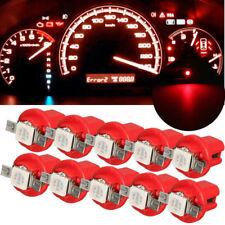 10Pcs T5 B8.5D Car Gauge 5050 1SMD Speedo Dashboard Dash Side LED Light Lamp Red