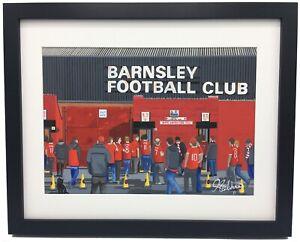 Barnsley F.C Oakwell Stadium High Quality Framed Art Print. Approx A4.