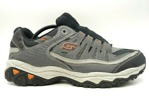 Skechers Gray Black Leather Mesh Lace Up Athletic Sneakers Shoes Men's 12