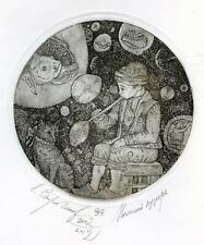 THE SOAP BUBBLE Original etching by Leonid STROGANOV, Russian Ex Libris Artist g