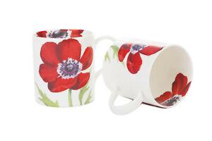 "Delightful Pair of ""Poppy"" Bone China Good Size Mugs by Royale Garden China"