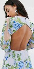 ASOS EDITION Open Back Green Blue Floral Embroidered Maxi Dress UK 6 Blogger BN