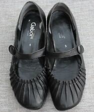 Gabor size 5 (EUR38) Black Leather flat shoes block heel & strap good condition