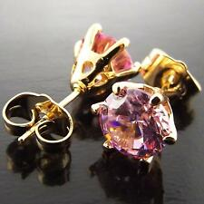 STUD EARRINGS REAL 18K  YELLOW G/F GOLD PINK DIAMOND SIMULATED 1.00 ct FS3AN979