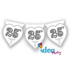 FESTONE 25° ANNIVERSARIO 3.60 m cuori argento Addobbi feste eventi matrimonio