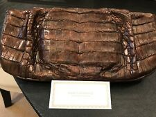 Nancy Gonzales Brown Crocodile Clutch
