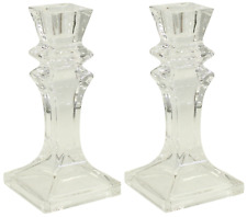 Set of 2  16cm Tall Square Glass Candlesticks Pillar Shaped Design Candle Stick