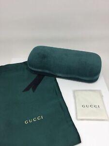 New MEDIUM Green Gucci Case Hard Shell Sunglasses & Eyeglasses Green Velvet Case