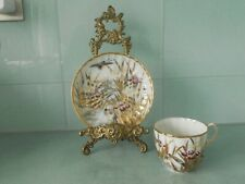 ANTIQUE BONE CHINA CHINESE / JAPANESE HAND PAINTED GILT IRIS CUP AND SAUCER