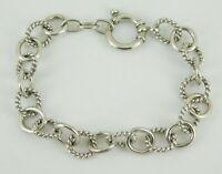 """925 Sterling Silver Alternating Textured Link Bracelet 7.75"""" Long"""