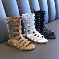 Toddler Infant Kids Baby Girls Summer Roman Princess Shoes Open Toe Zip Sandals