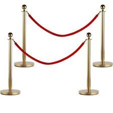 4 Pcs Velvet Rope Stanchion Gold Color Plated Post Crowd Control Queue Pole