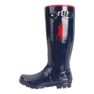 Polo Ralph Lauren Girls Rain Boots Blue Red Round Toe Knee High Buckle 6 New