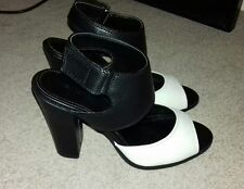 Next Black and White Mono Sporty Heel Sandals Size 5 38
