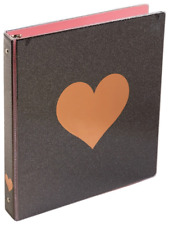 Divoga 1-in. 3-ring Hearts Collection Binder, Black Glitter w/ Gold Heart