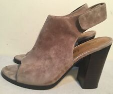 Size AU 9 / EUR 40 Women's Leather Suede Open Toe Chunky Block Heels Mules