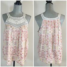 $288 JOIE Size S Small Bayard Crocheted Lace Trim Silk Chiffon Tank Red White