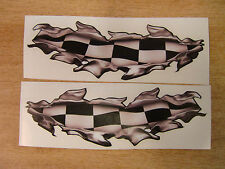 """Torn / Ripped Paintwork """"Checker Flag"""" stickers - 400mm decal pair LARGE"""