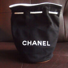 CHANEL VIP GIFT BLACK CANVAS DRAWSTRING COSMETIC TOTE/BACKPACK/BAG