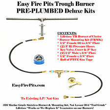 "TB14K++ 14"" Trough Complete Deluxe Pre Plumbed Gas Fire Pit Kit 316 Stainless"