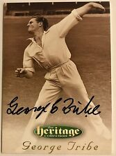 1995 FUTERA HERITAGE CRICKET COLLECTION CARD N0 12/60 SIGNED GEORGE TRIBE