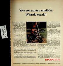 1972 Honda Motorbike Minibike Father Son Vintage Print Ad 5434