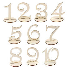 10pcs Freestanding Wooden Table Numbers 1-10 Wedding Birthday Party Decoration