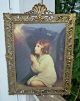 1900 - 1920s Era Brass Ornate Convex Bubble Glass Picture Frame - Made in Italy