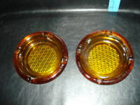 "2 Vintage Cigar Ashtrays Amber 5 3/4"" Round Glass Waffle Design / 4 Cigar Slots"